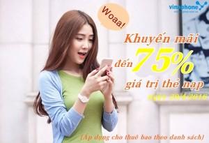 Vinaphone khuyến mãi đến 75% duy nhất ngày 20/4