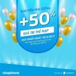 Vinaphone khuyến mãi 50% thẻ nạp EZpay ngày 30/4/2017