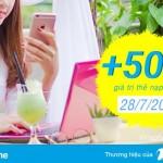 Vinaphone khuyến mãi 50% thẻ nạp EZpay ngày 28/7/2017 cho thuê bao trả sau