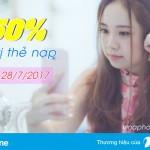 Vinaphone KM 50% thẻ nạp ngày vàng 28/7/2017