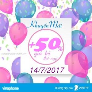 Vinaphone khuyến mãi 50% giá trị thẻ nạp ngày vàng 14/7/2017